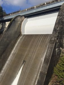 "Cleveland Dam drum gate with limited ""leak"" spills only."