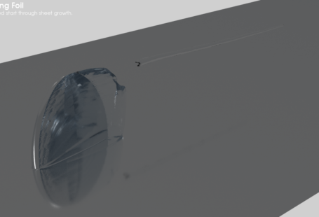 Cavitation Bubble Behind Foild With Ray Tracing